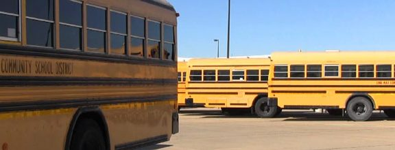 School buses parked in bus parking lot