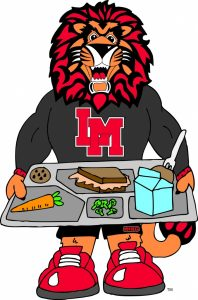 King mascot with lunch tray