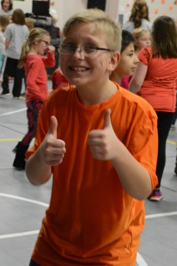 Indian Creek student giving two thumbs up for the dance marathon.