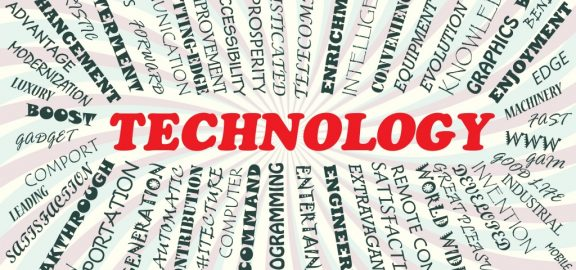 The word technology with supporting strategic word surrounding