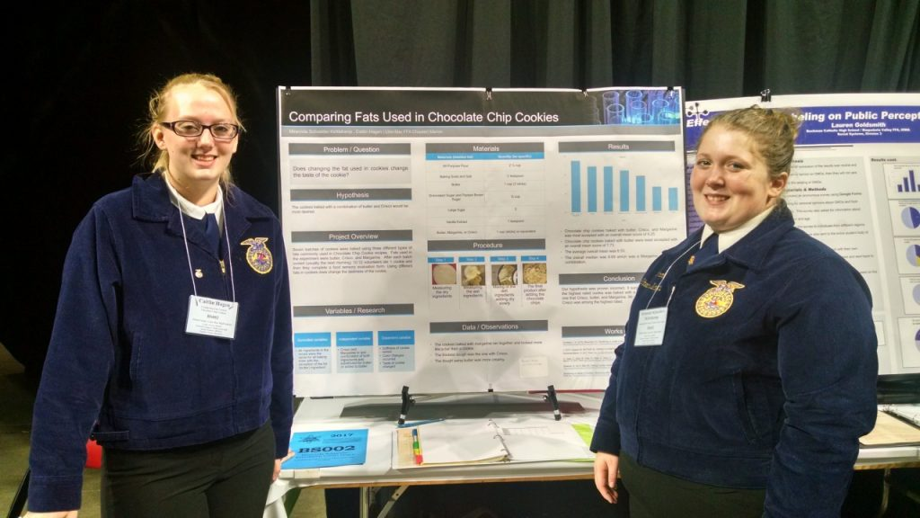 Linn-Mar FFA's Caitlin Hagen and Mirannda Schneider-Kettelkamp at State FFA Competition