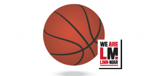 We are Linn-Mar logo in front of image of basketball