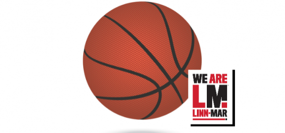 we are linn mar logo in front of image of basketball
