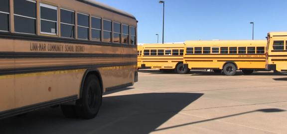 Linn-Mar Buses Parked at Transportation Center