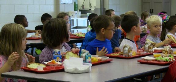 Students eating lunch at Novak Elementary