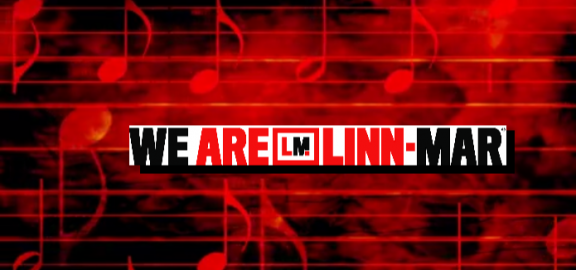We Are Linn-Mar logo in front of red and black background of bars of notes and music