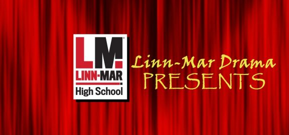 Linn-Mar Drama Presents over curtain background