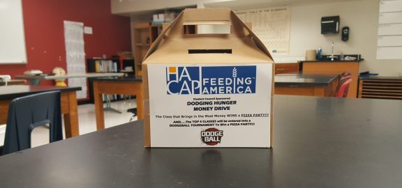 Student Council HACAP food drive collection box