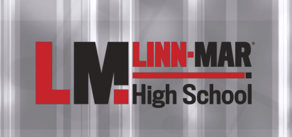 Linn-Mar High School over gray patterned background