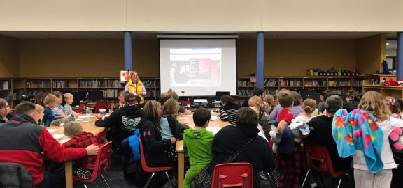 Debra Barry gives a presentation to parents at Novak Elementary