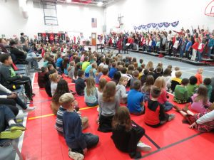 Wilkins Elementary students watch a veterans day assembly