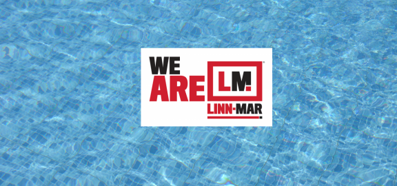 We are Linn-Mar logo over swimming pool water