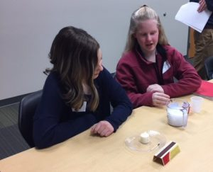 Two 7th grade girls also conduct a science experiment at Science Technology Engineering and Mathematics Institute