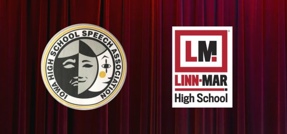 Iowa High School Speech Association logo and Linn-Mar High School logo over red curtain background