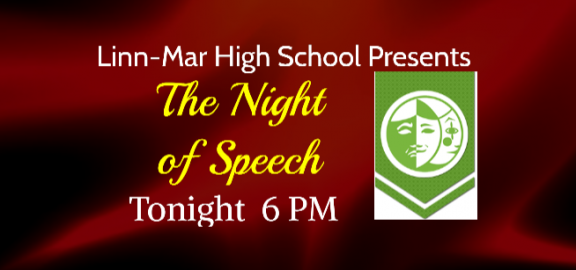 Iowa State Speech Association Logo with words night of speech