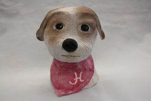 Small Ceramic brown and white dog with red bandana