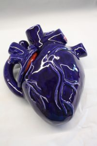 blue ceramic human heart