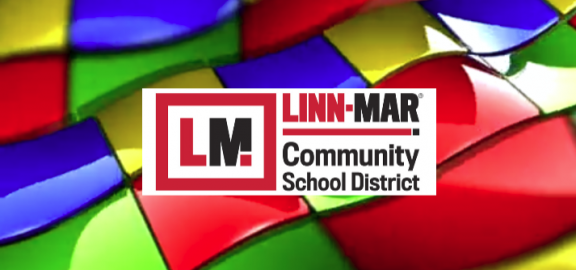 Linn Mar Communuty School District logo over rainbow colored tiles