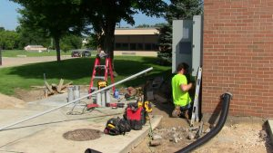 Working installing New Electrical Service at Indian Creek Elementary
