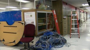 Pile of computer wiring in a Wilkins Hallway