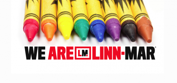 We are Linn Mar logo with crayons
