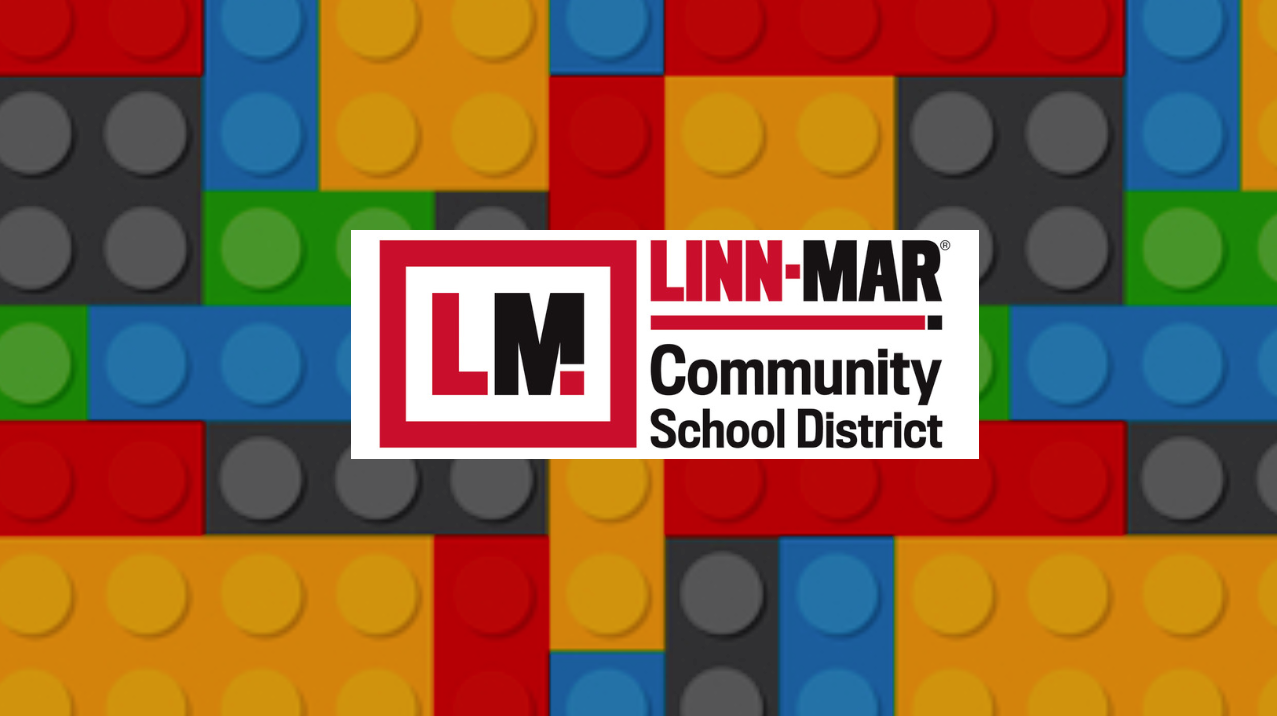 Linn Mar District logo over lego background