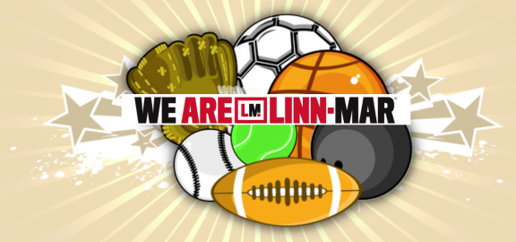 We are Linn Mar Logo over sports equipment artwork