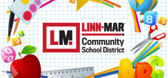 Linn Ma Community School District Logo with drawing of art supplies