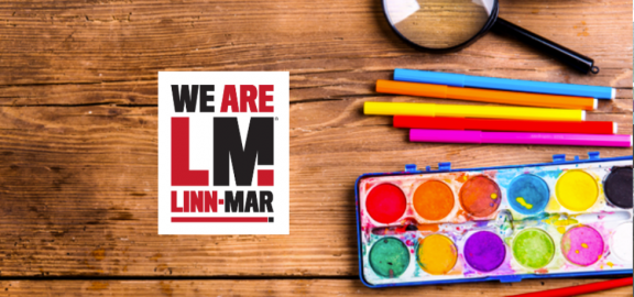 We Are Linn Mar logo with Art Supplies