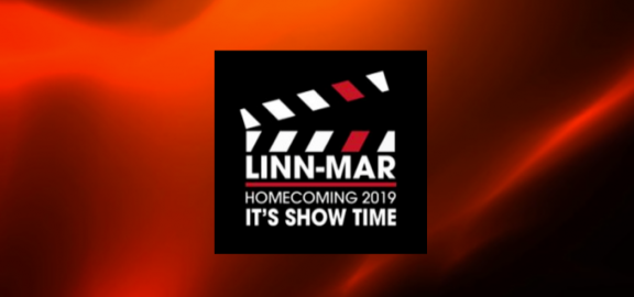 Homecoming 2019 logo with red